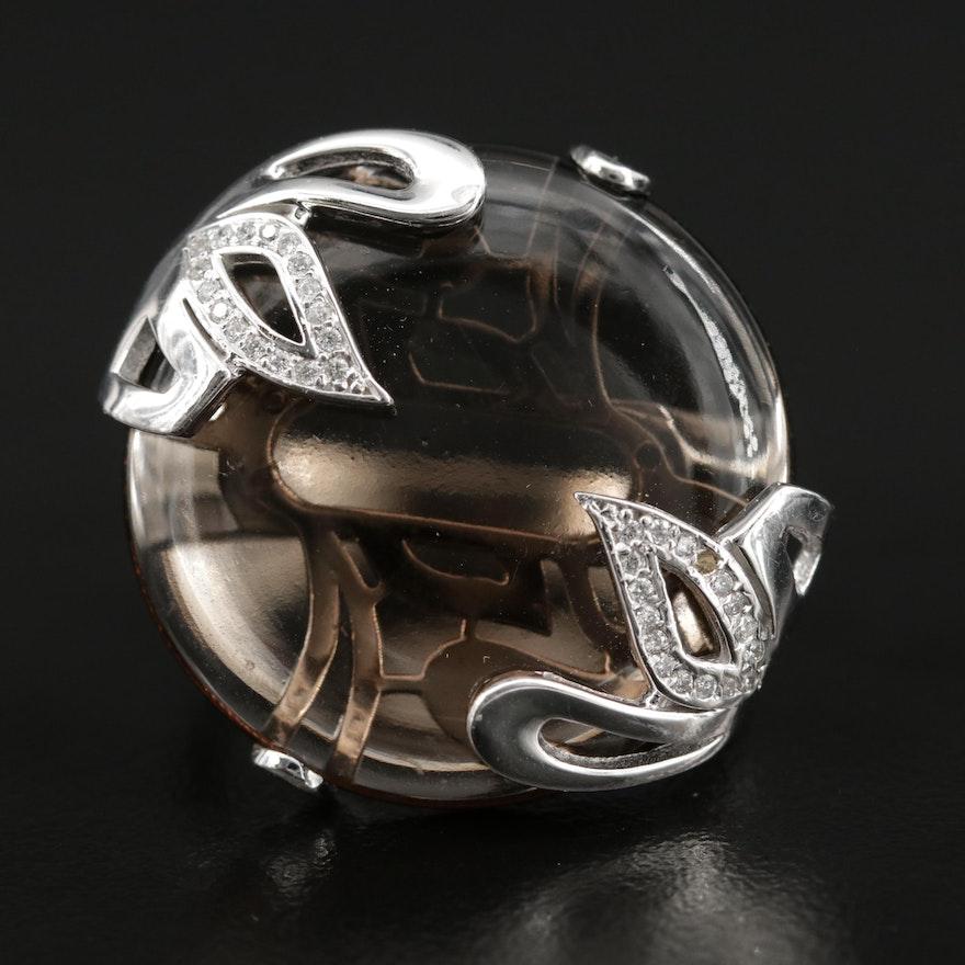 14K White Gold Smoky Quartz and Diamond Ring