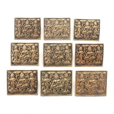 East Asian Cast Brass Decorative Plates