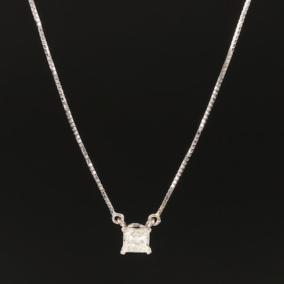 14K White Gold 0.59 CT Diamond Solitaire Necklace