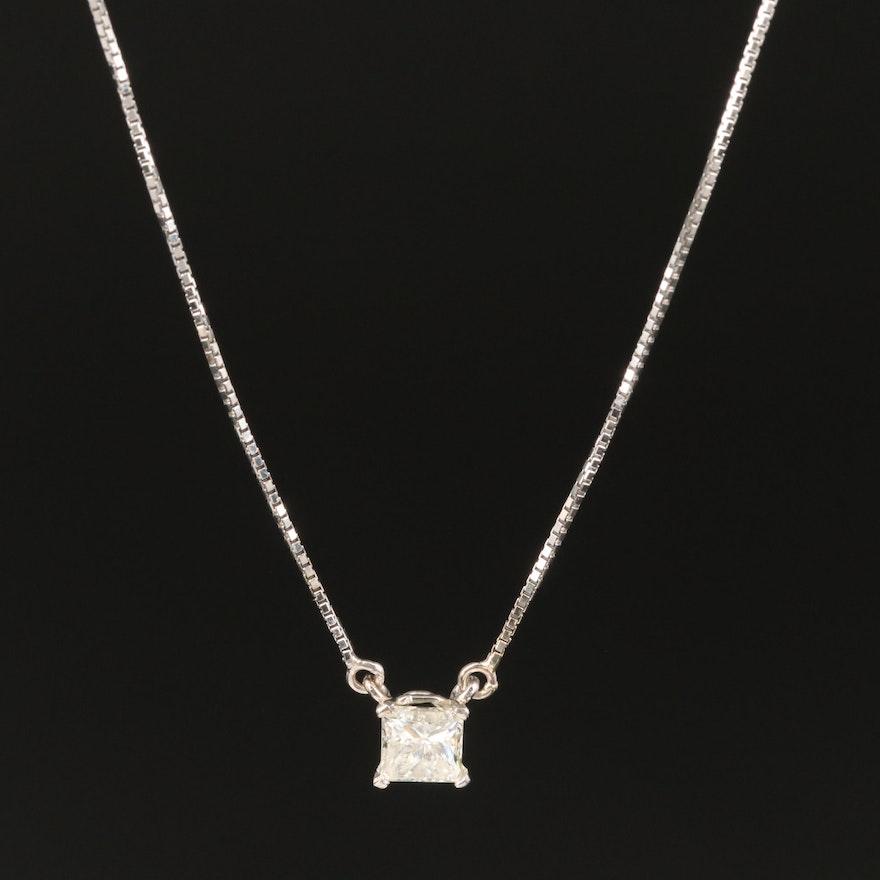 14K White Gold 0.59 CT Diamond Solitaire Necklace