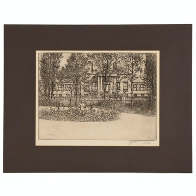 """Edward Timothy Hurley Etching """"Home of the Fine Arts"""", Early 20th Century"""