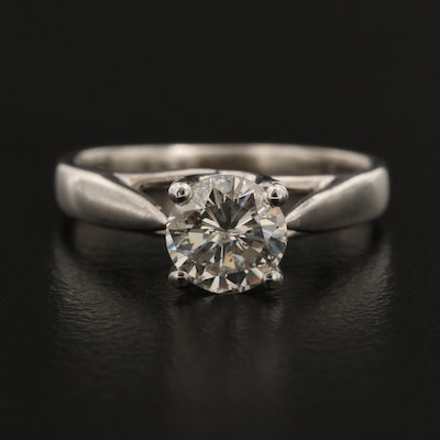 Platinum 0.78 CT Diamond Solitaire Ring