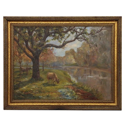 Carlton C. Fowler Impressionist Style Oil Painting with Cows, Early 20th Century