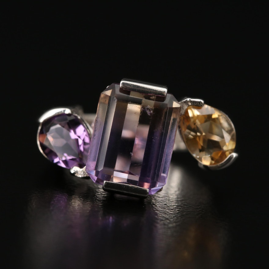 Sterling Ametrine, Amethyst and Citrine Ring