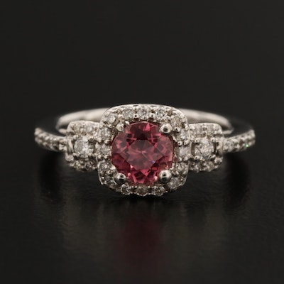 14K Pink Tourmaline and Diamond Ring