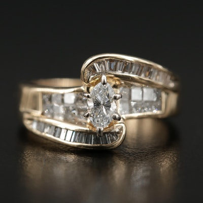 14K Gold Diamond Bypass Ring