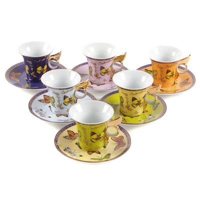 Classic Coffee & Tea Porcelain Teacup Gift Set with Butterfly Motif