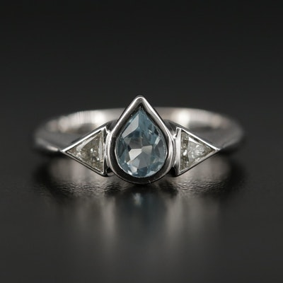 18K Blue Topaz and Diamond Ring