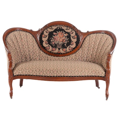 Victorian Walnut Upholstered Settee, Late 19th Century