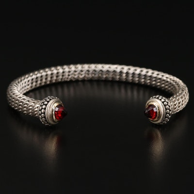 Sterling Silver Garnet Cuff with 18K Accents