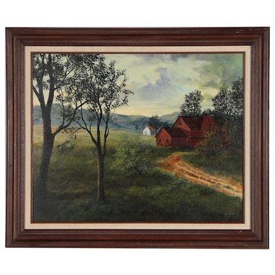 Robert Bush Farm Landscape Oil Painting, 1980