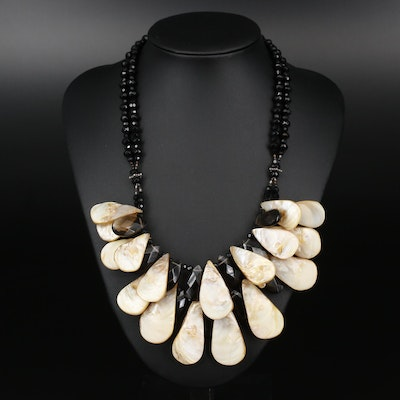 Beaded Necklace with Shell Accents and Sterling Closure