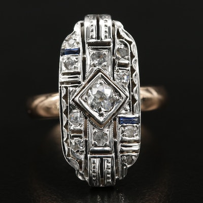 Art Deco 14K Diamond, Sapphire and Cubic Zirconia Ring with Sterling Head