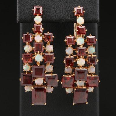 18K Garnet and Opal Drop Earrings
