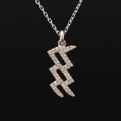 Sterling Silver Diamond Aquarius Necklace