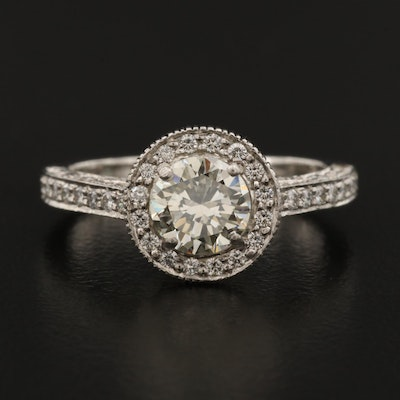 Platinum 1.83 CTW Diamond Halo Ring