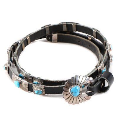 Signed Sterling Silver Concho and Turquoise Black Leather Belt