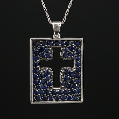 14K Gold Sapphire Reversible Cross Pendant Necklace