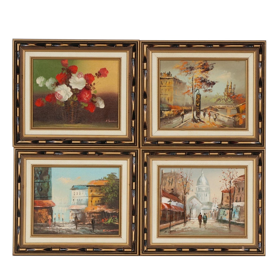 Cityscapes and Floral Still Life Oil Paintings, Mid-20th Century