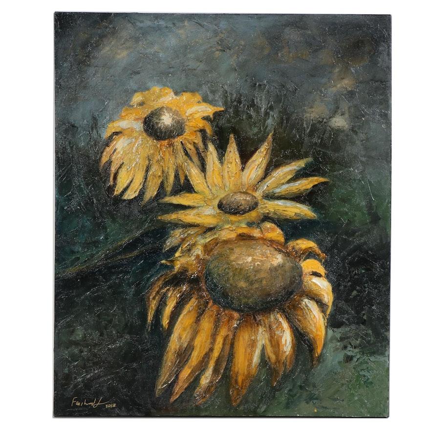 "Farshad Lanjani Oil Painting ""Sun Flower"", 2013"
