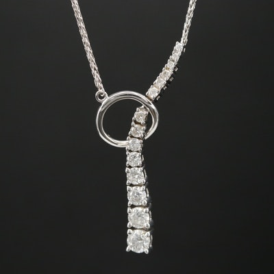 14K Gold Diamond Lariate Style Necklace