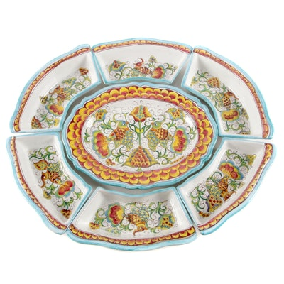 Orvieto Italy Hand-Painted Earthenware Appetizer Serving Set