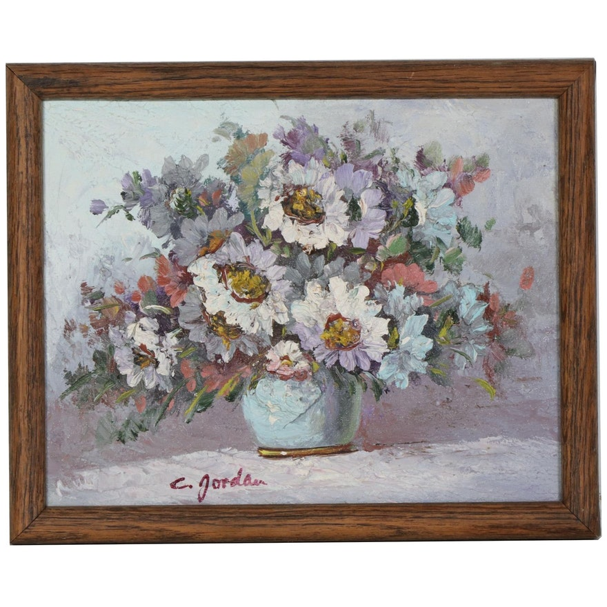 C. Jordan Impasto Oil Painting of Floral Still Life