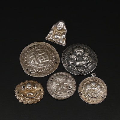 Vintage Chinese Buttons and Amulets Including Good Fortune and Buddha