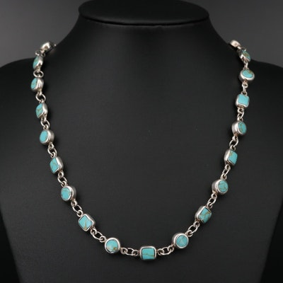 Mexican Sterling Silver Turquoise Station Style Necklace
