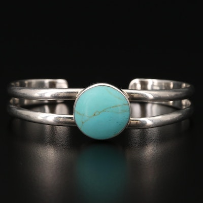 Mexican Sterling Silver Turquoise Cuff