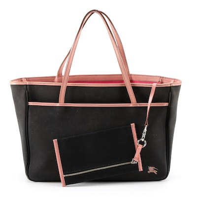 Burberry Blue Label Black Canvas Tote with Pink Leather Trim