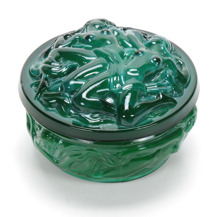 Art Deco Malachite Art Glass Erotic Trinket Box
