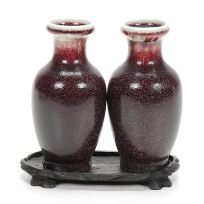 Chinese Sang de Boeuf Porcelain Vases with Wood Stand