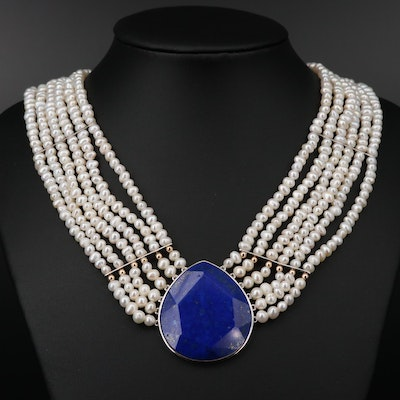 Sterling Multi Strand Pearl Necklace with Lapis Lazuli and 14K Beads