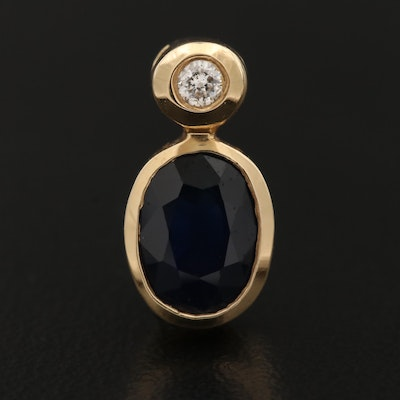 14K 1.44 CT Sapphire and Diamond Pendant