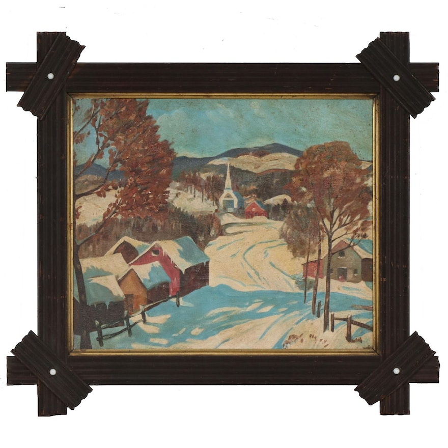 Winter Scene Oil Painting, Early 20th Century