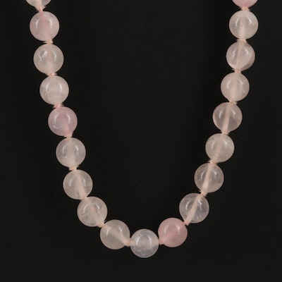 Knotted Rose Quartz Necklace with 14K Clasp