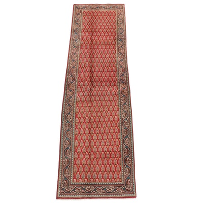 3'0 x 11'2 Hand-Knotted Persian Mir Serabend Wool Carpet Runner