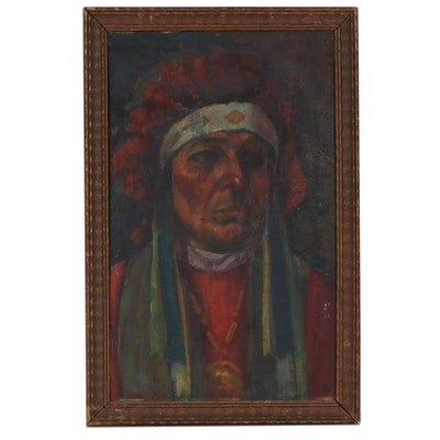 Oil Painting of Native American Male, Early 20th Century