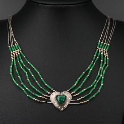 Southwestern Style Sterling Silver Malachite Multi Chain Necklace