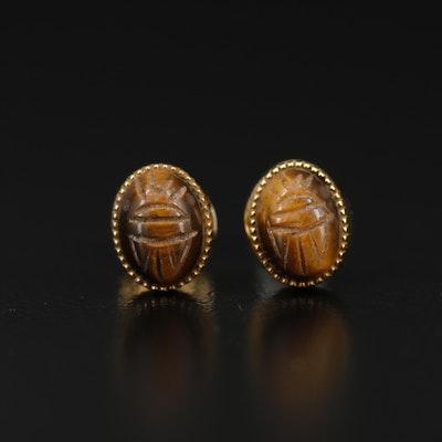 10K Tiger's Eye Scarab Stud Earrings