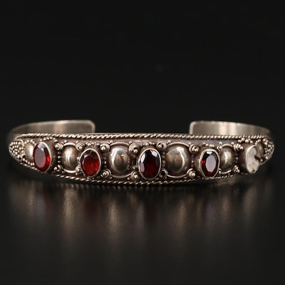 Sterling Cuff with Bezel Set Garnet and Granulated Detail