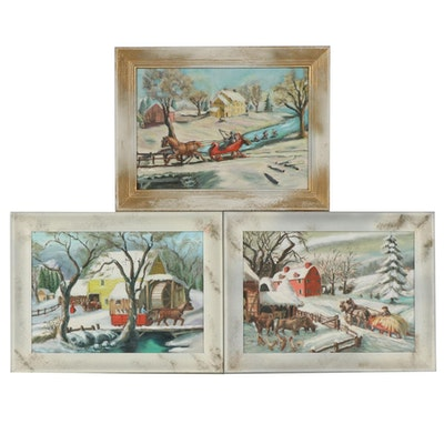 Folk Art Oil Paintings of Winter Farm Scenes, Mid-20th Century