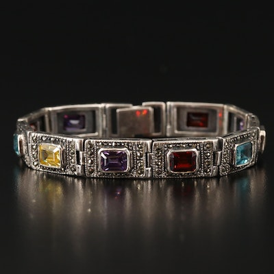 Sterling Faceted Glass Panel Bracelet with Diamond and Cubic Zirconia Accents