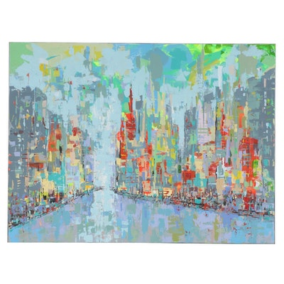 "Farshad Lanjani Acrylic Painting ""The Big City"", 2017"