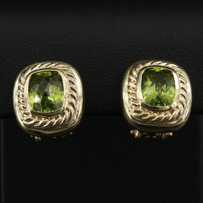 David Yurman 18K Peridot Clip Earrings