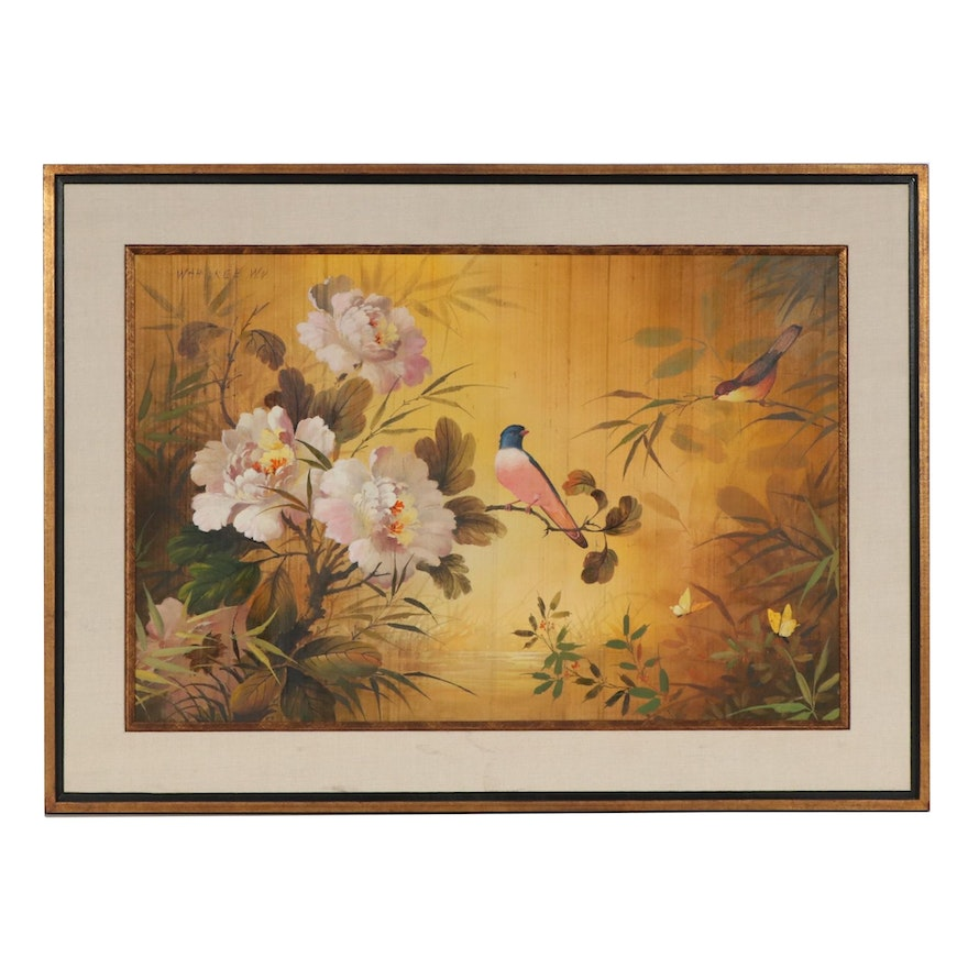 Wah Kee Wu Flowers and Songbirds Oil Painting on Silk, Mid-20th Century