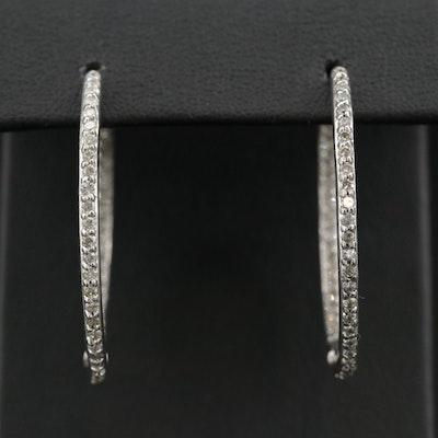 14K 1.00 CTW Diamond Inside-Out Hoop Earrings