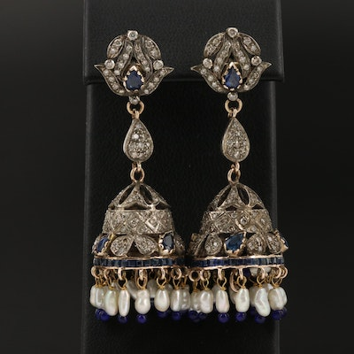 Traditional Sterling 1.00 CTW Diamond, Sapphire and Pearl Jhumka Earrings