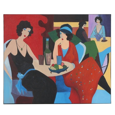 "Farshad Lanjani Copy Acrylic Painting after Henri Matisse ""Women at a Cafe"""